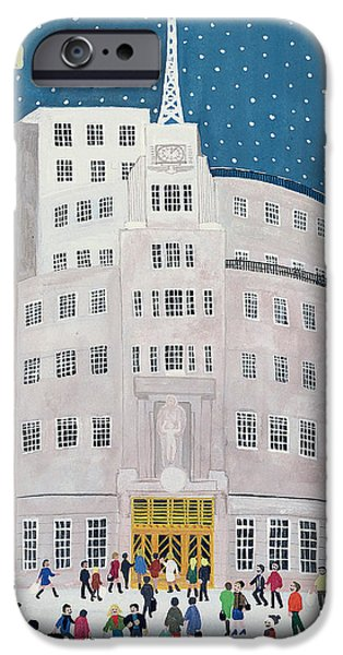 Snowy Evening iPhone Cases - BBCs Broadcasting House  iPhone Case by Judy Joel