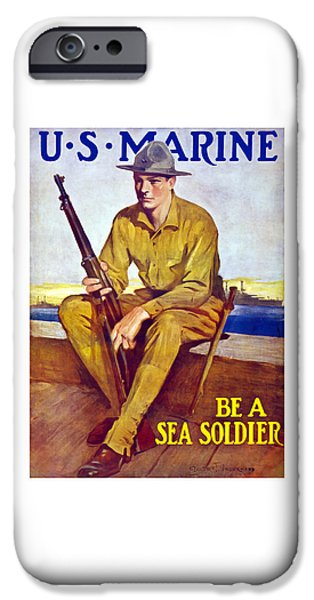 World War One iPhone Cases - Be A Sea Soldier - US Marine iPhone Case by War Is Hell Store