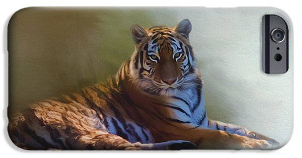 One iPhone Cases - Be Calm In Your Heart - Tiger Art iPhone Case by Jordan Blackstone