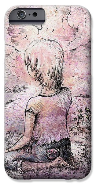 Contemplative Drawings iPhone Cases - Be still iPhone Case by Rachel Christine Nowicki