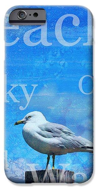 Sea Birds iPhone Cases - Beach Art Seagull By Sharon Cummings iPhone Case by Sharon Cummings