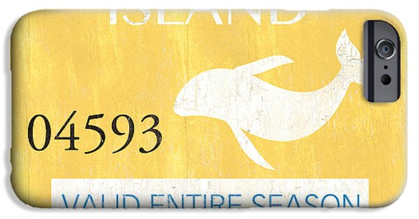 New Jersey Paintings iPhone Cases - Beach Badge Long Beach Island iPhone Case by Debbie DeWitt
