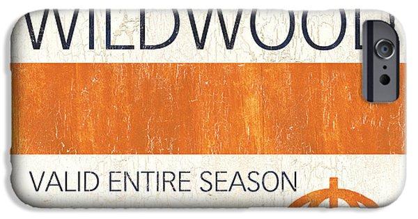 Umbrella Paintings iPhone Cases - Beach Badge Wildwood iPhone Case by Debbie DeWitt