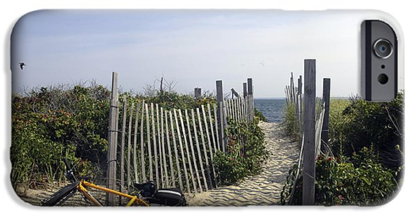 Pathway iPhone Cases - Beach Bicycle Rest iPhone Case by Madeline Ellis