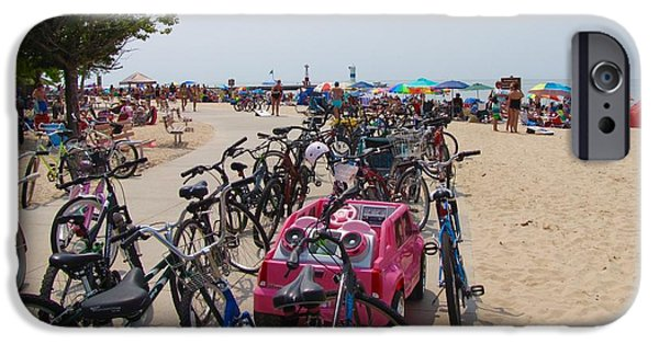 Basket iPhone Cases - Beach Bikes and Umbrellas  iPhone Case by Jane Greiner