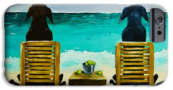 Whimsy Paintings iPhone Cases - Beach Bums iPhone Case by Roger Wedegis