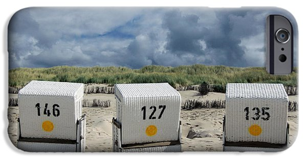 North Sea iPhone Cases - Beach Chairs iPhone Case by Steffi Louis