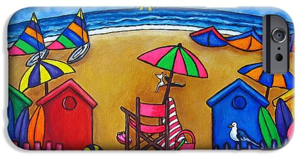Beach Chair iPhone Cases - Beach Colours iPhone Case by Lisa  Lorenz