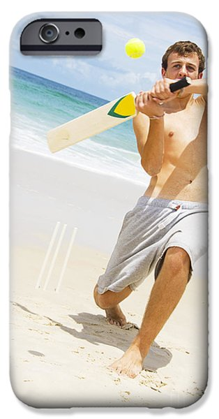 Youthful iPhone Cases - Beach Cricket Slog iPhone Case by Ryan Jorgensen