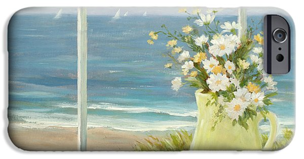 Sailboats iPhone Cases - Beach Daisies in Yellow vase iPhone Case by Tina Obrien