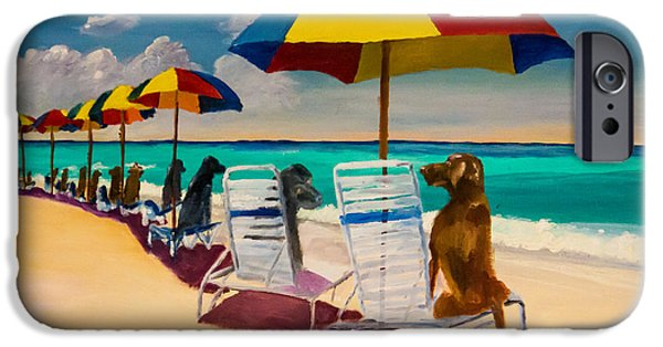 Chocolate Labrador Retriever Paintings iPhone Cases - Beach Day iPhone Case by Roger Wedegis