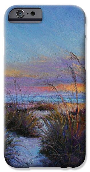 Sunset Pastels iPhone Cases - Beach Escape iPhone Case by Susan Jenkins