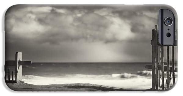 Cape Cod Landscapes iPhone Cases - Beach Fence - Wellfleet Cape Cod iPhone Case by Dapixara Art