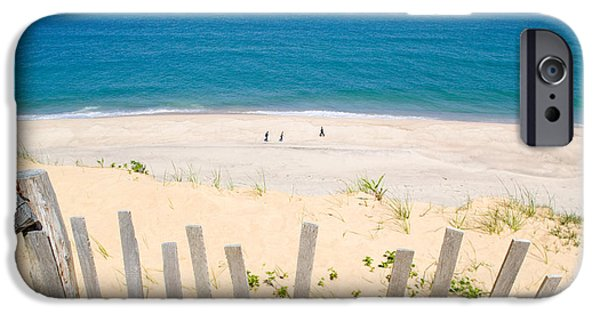 Ma iPhone Cases - beach fence and ocean Cape Cod iPhone Case by Matt Suess