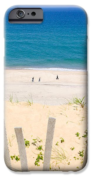 beach fence and ocean Cape Cod iPhone Case by Matt Suess