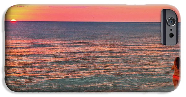 Beach Model iPhone Cases - Beach Girl and Sunset iPhone Case by Scott Mahon