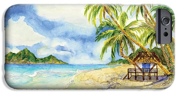 Beach Towel iPhone Cases - Beach House Cottage on a Caribbean Beach iPhone Case by Audrey Jeanne Roberts