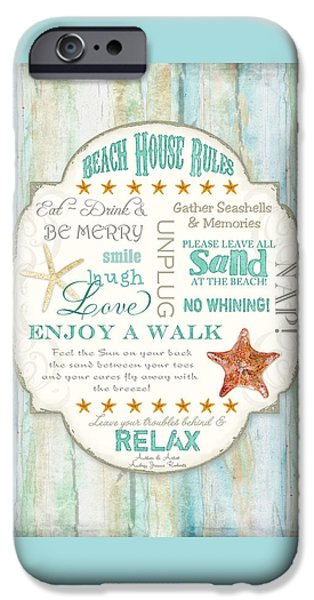 Beach Cottage Style iPhone Cases - Beach House Rules - Refreshing Shore Typography iPhone Case by Audrey Jeanne Roberts