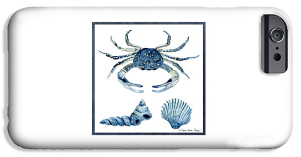 Beach Cottage Style iPhone Cases - Beach House Sea Life Crab Turban Shell n Scallop iPhone Case by Audrey Jeanne Roberts