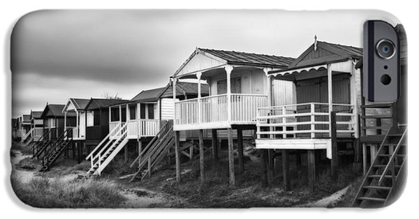 Hut iPhone Cases - Beach Huts North Norfolk UK iPhone Case by John Edwards