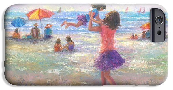 Little Girl iPhone Cases - Beach Joy iPhone Case by Vickie Wade