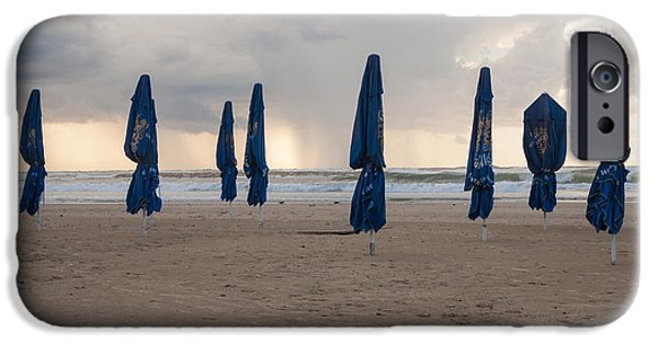 Winter Storm iPhone Cases - Beach umbrellas / Winter is coming iPhone Case by Kobi Amiel