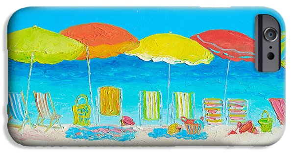 House Art iPhone Cases - Beach Painting - Beach Chairs iPhone Case by Jan Matson