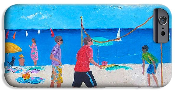 Volley iPhone Cases - Beach Painting Beach Volleyball  by Jan Matson iPhone Case by Jan Matson