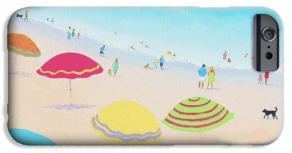 Beach iPhone Cases - Beach Painting - Bright Sunny Day iPhone Case by Jan Matson