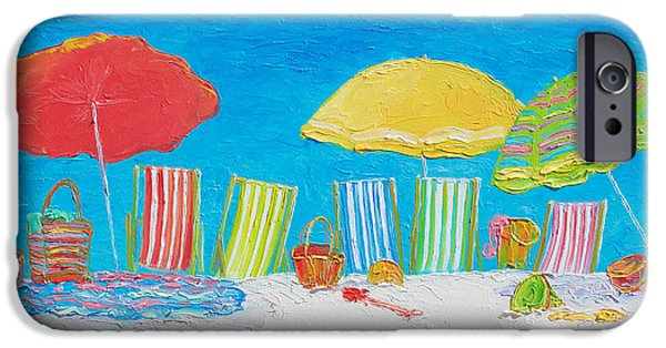 House Art iPhone Cases - Beach Painting - Deck Chairs iPhone Case by Jan Matson