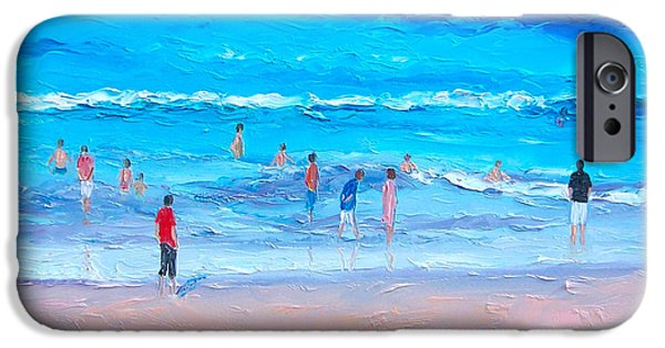 Beach At Night iPhone Cases - Beach Painting - Last swim of the day iPhone Case by Jan Matson