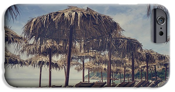 Beach Pyrography iPhone Cases - Beach Parasols iPhone Case by Jelena Jovanovic