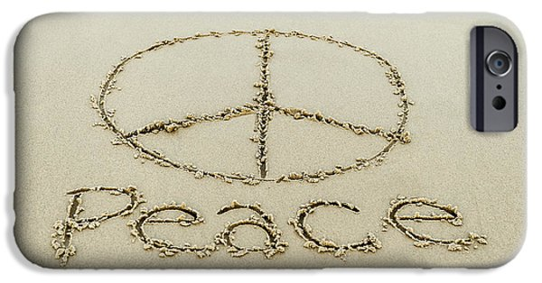 Sign iPhone Cases - Beach Peace iPhone Case by John Greim