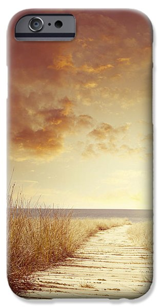Sea iPhone Cases - Beach sunrise iPhone Case by Les Cunliffe