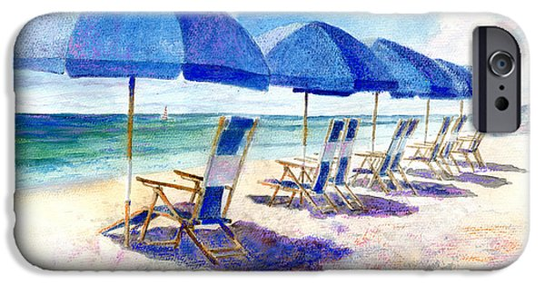 Beach Landscape iPhone Cases - Beach umbrellas iPhone Case by Andrew King