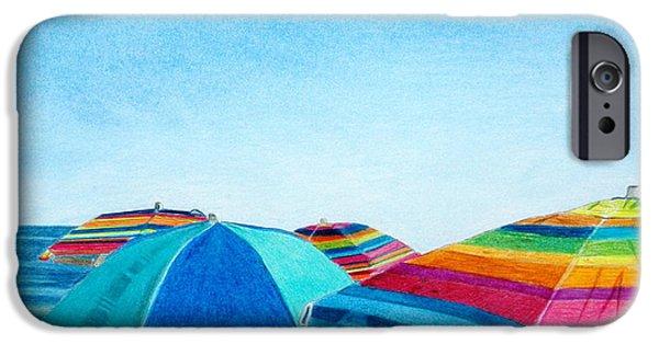 Summer Drawings iPhone Cases - Beach Umbrellas iPhone Case by Glenda Zuckerman