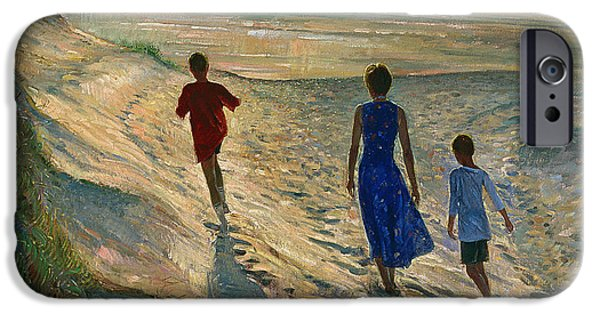 Sea iPhone Cases - Beach Walk iPhone Case by Timothy Easton