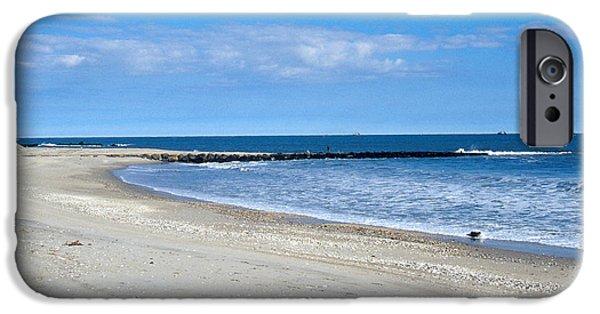 Beach Landscape iPhone Cases - Beach With Jetty iPhone Case by John Kaprielian