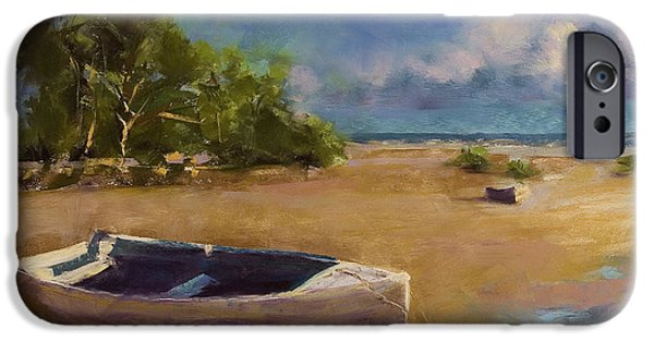 Beach Landscape Pastels iPhone Cases - Beached iPhone Case by David Patterson