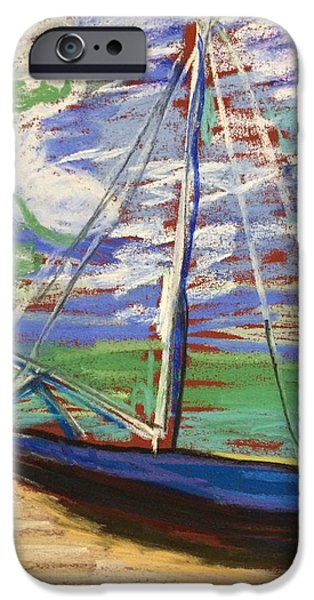Sailboats Pastels iPhone Cases - Beached iPhone Case by Tim Bruneau