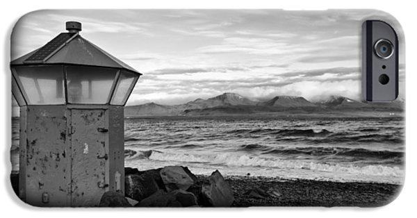 Beacon iPhone Cases - Beacon at Hvaleyrarviti in Iceland BW iPhone Case by Andres Leon