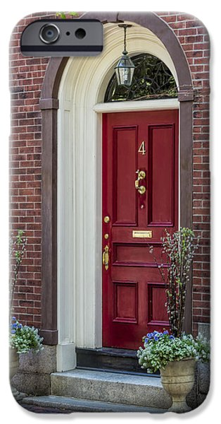 Boston iPhone Cases - Beacon Hill Red Door iPhone Case by Susan Candelario