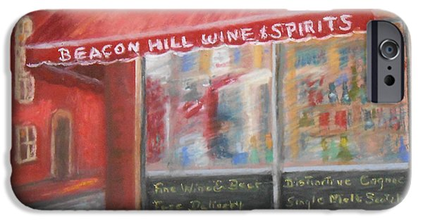City Scape Pastels iPhone Cases - Beacon Hill Wine Shop iPhone Case by Claire Norris