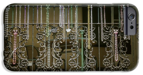 Beads iPhone Cases - Beads On Wrought Iron Rail iPhone Case by Garry Gay