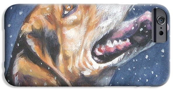 Beagles iPhone Cases - Beagle in snow iPhone Case by L AShepard