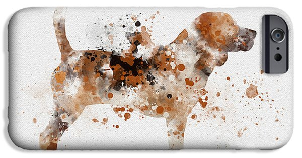 Canine Mixed Media iPhone Cases - Beagle iPhone Case by Rebecca Jenkins