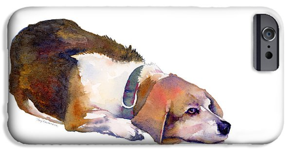 Beagles iPhone Cases - Beagle Thoughts iPhone Case by Amy Kirkpatrick