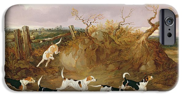 Dog Running. iPhone Cases - Beagles in Full Cry iPhone Case by John Dalby