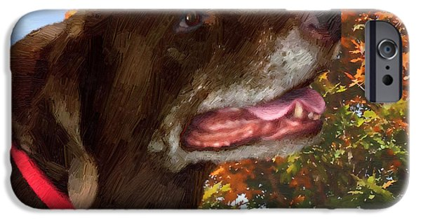 Chocolate Lab Digital Art iPhone Cases - Bear - Bear iPhone Case by Doug Kreuger