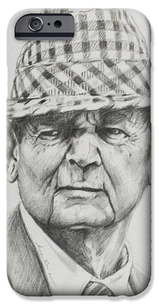 Bryant Drawings iPhone Cases - Bear Bryant 2015 iPhone Case by Hae Kim